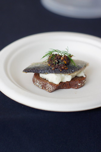 House Marinated Sardines – Burrata, Olives, Orange & Almonds on<br /><br /><br /><br /><br />  a Crostino