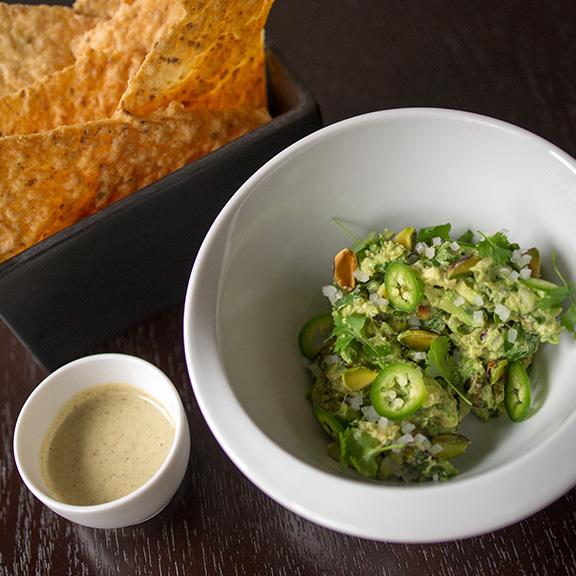 Guacamole with Pistachios & Smoked Cashew Salsa