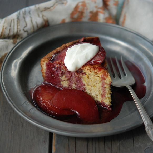 Almond & Orange Cake with Plum Compote
