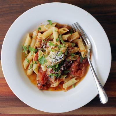 Andrew Zimmern Recipe Charred Tomato Sauce with Penne|Andrew Zimmern Recipe Smoky Eggplant Dip