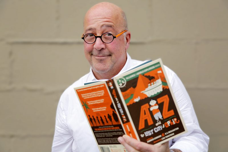 Andrew Zimmern with his new book AZ and the Lost City of Ophir
