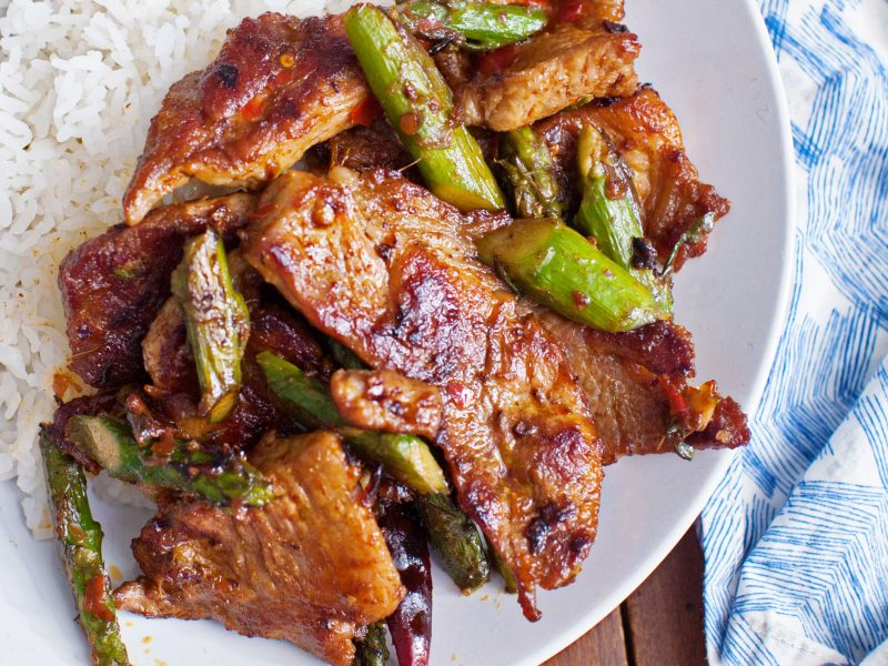 Andrew Zimmern's Pork and Asparagus