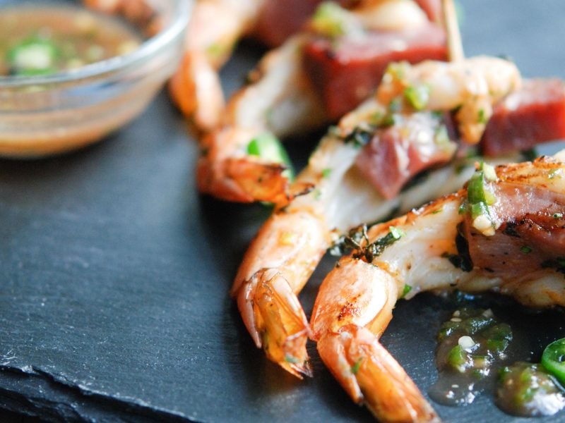 Andrew Zimmern's Shrimp and Ham Skewers