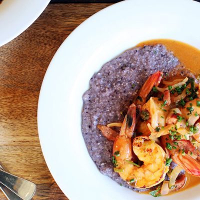 Andrew Zimmern's Shrimp and blue grits