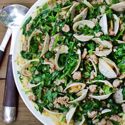 Andrew Zimmern's clams with orzo