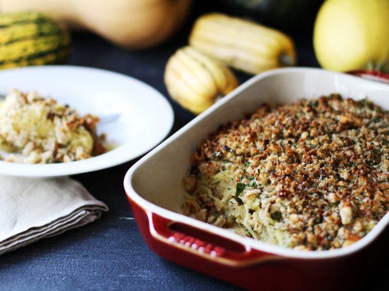 Andrew Zimmern's spaghetti squash crumble
