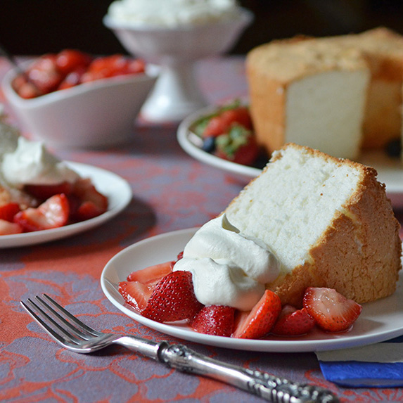 Angel Food Cake with Macerated Berries & Whipped Cream