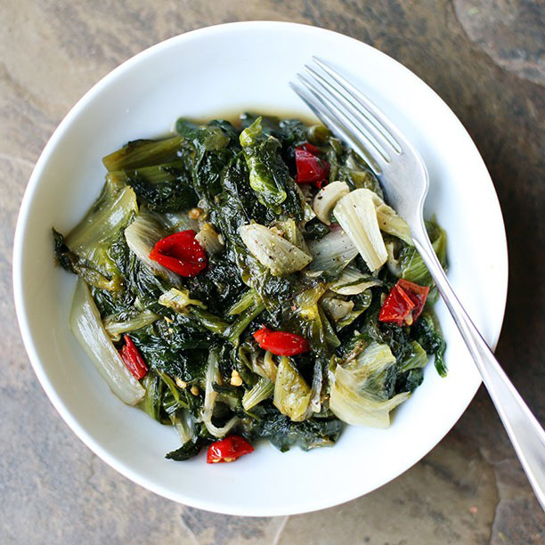 Braised Escarole with Garlic & Calabrian Peppers