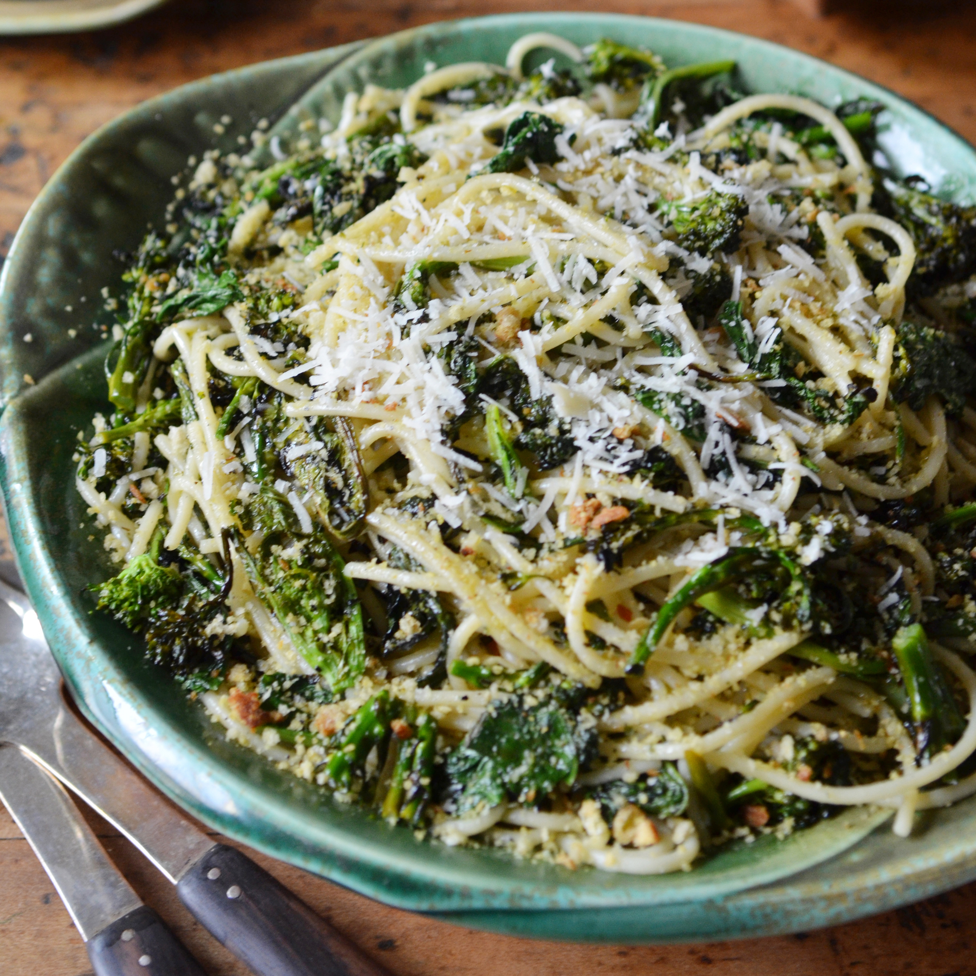 Charred Broccoli Rabe with Chitarra and Lemony Bread Crumbs © Madeleine Hill Charred Broccoli Rabe with Chitarra and Lemony Bread Crumbs