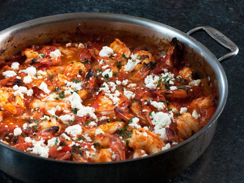 Andrew Zimmern's Recipe for Broiled Shrimp with Tomatoes and Feta