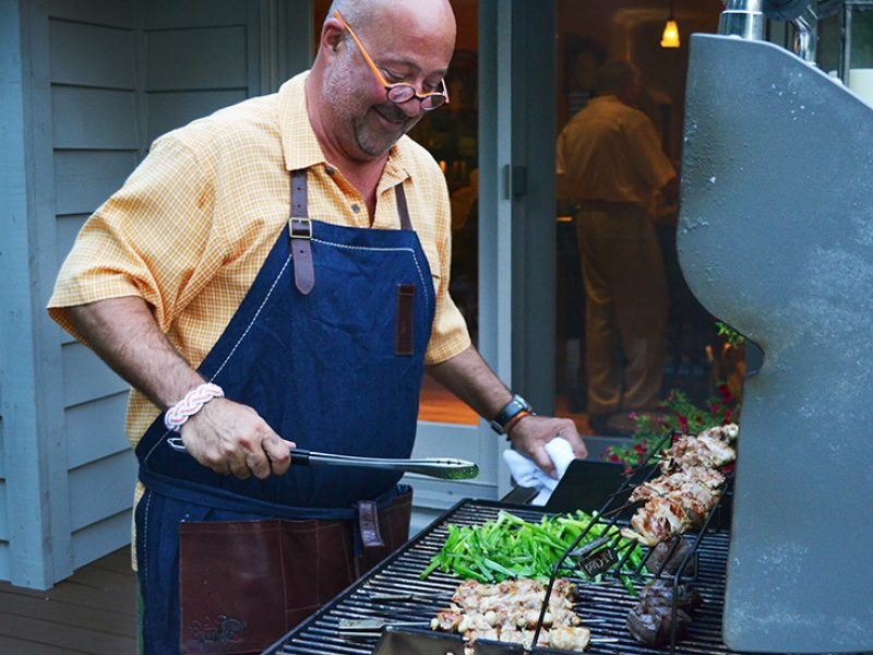 Andrew grilling chicken yakitori.