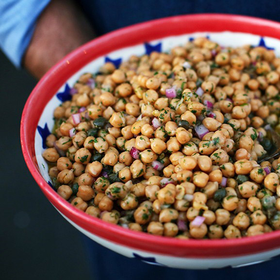 Andrew Zimmern's Chickpea Salad with Red Onions, Capers & Banyuls Vinegar