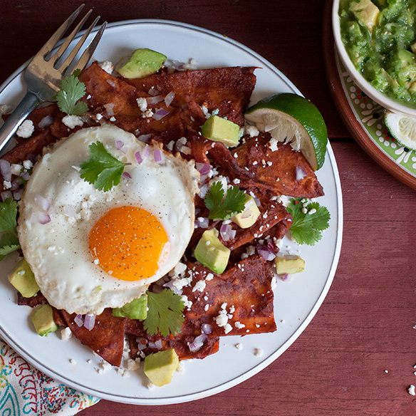 Chilaquiles with Salsa Roja & Fried Eggs