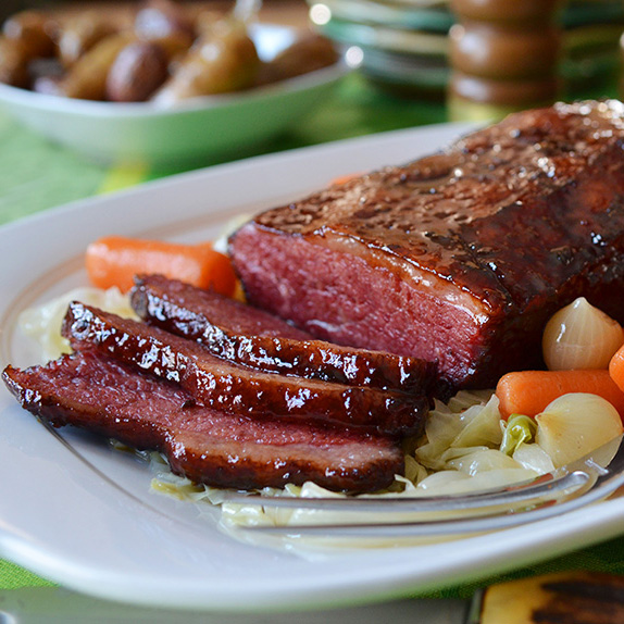 Corned Beef with Bourbon-Molasses Glaze