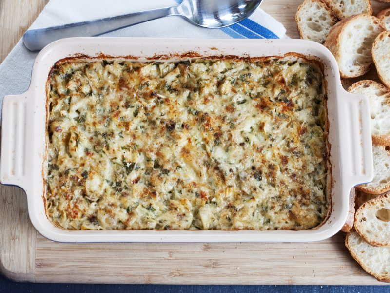 Andrew Zimmern's Recipe for crab and artichoke dip