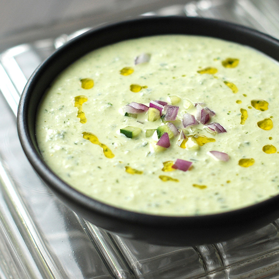 Cold Cucumber Soup with Yogurt & Dill