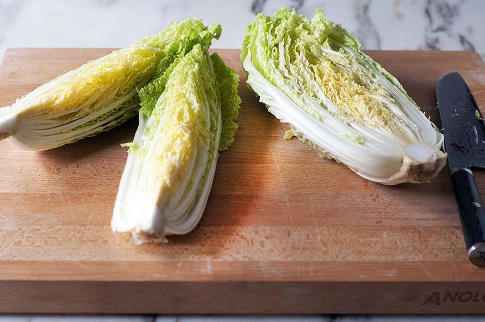 Napa cabbage cut into quarters