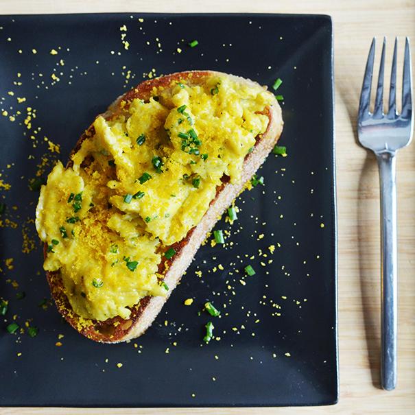 Soft-Scrambled Egg Toasts with Bottarga