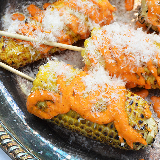 Grilled Mexican-Style Corn with Parmesan Mayo