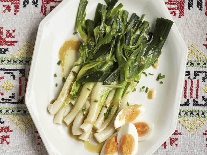Leek Salad with Mustard Vinaigrette & Eggs