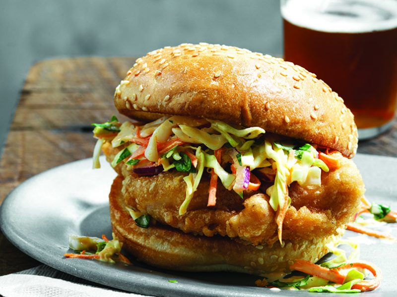 Beer Battered Chicken Sandwich. For the Fried Chicken book. PHOTO BY JOHN LEE COPYRIGHT 2014 JOHN LEE PICTURES|