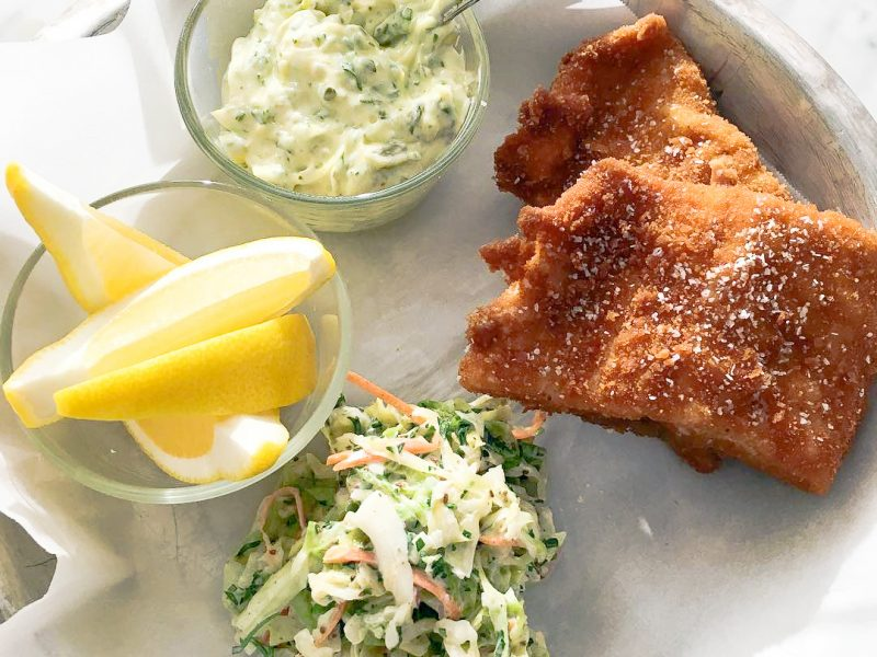 Fried whitefish with coleslaw