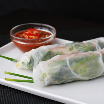 Andrew Zimmern's fried chicken summer rolls