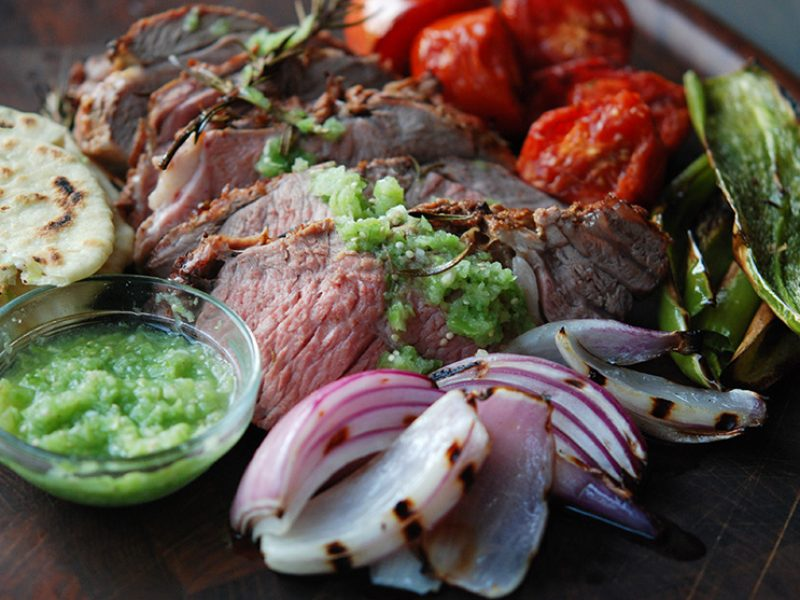Grilled Leg of Lamb with Bacon Fat Tortillas