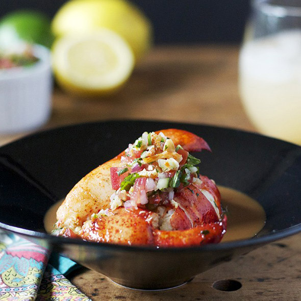 Grilled Lobster with Coconut-Rum Glaze & Dried Shrimp Salsa