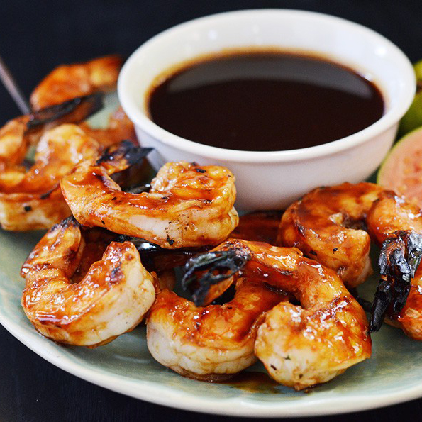 Grilled Shrimp with Rum-Guava Glaze