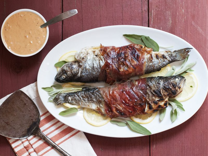 Andrew Zimmern's Grilled Prosciutto-Wrapped Trout