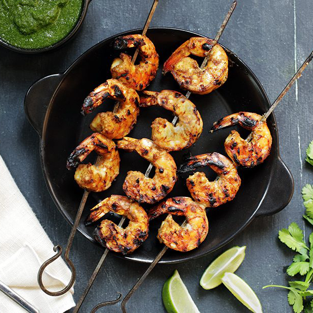 Grilled-coconut-shrimp-with-cilantro-chutney