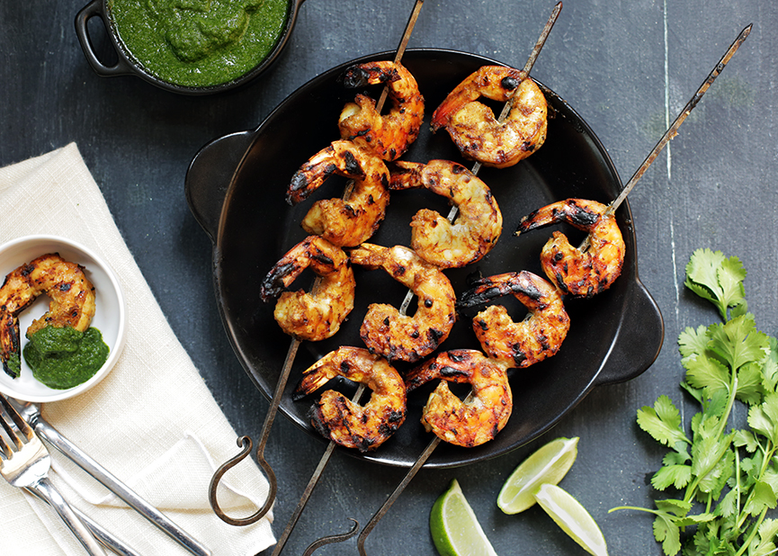 Grilled coconut shrimp with cilantro chutney