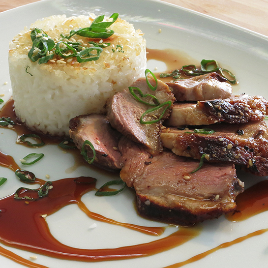 Grilled Duck Breasts with Sake & Soy Glaze