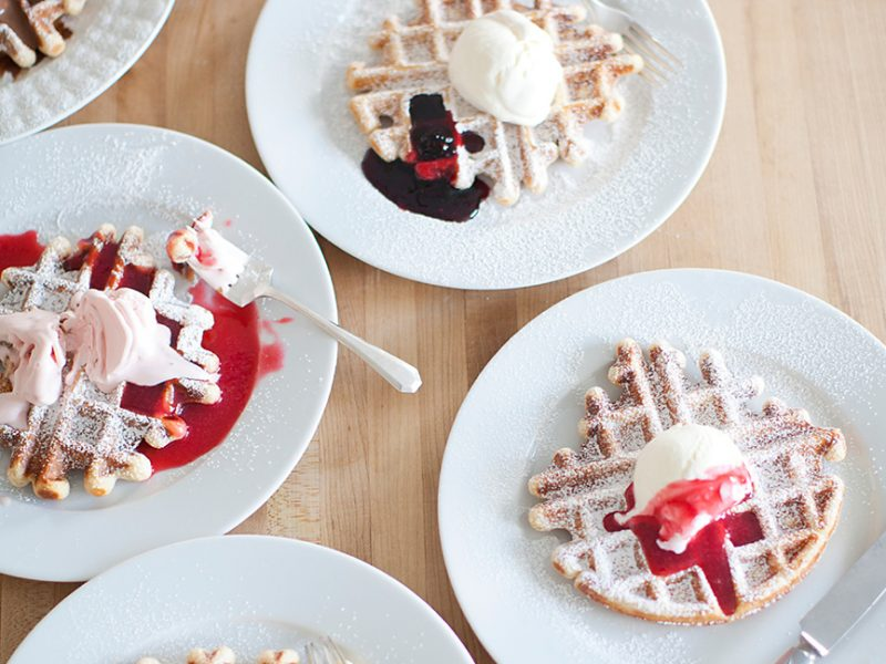 North Market Waffles with Sweet Cream Ice Cream & Blackberry Jam|Jeni's Splendid Ice Cream Desserts