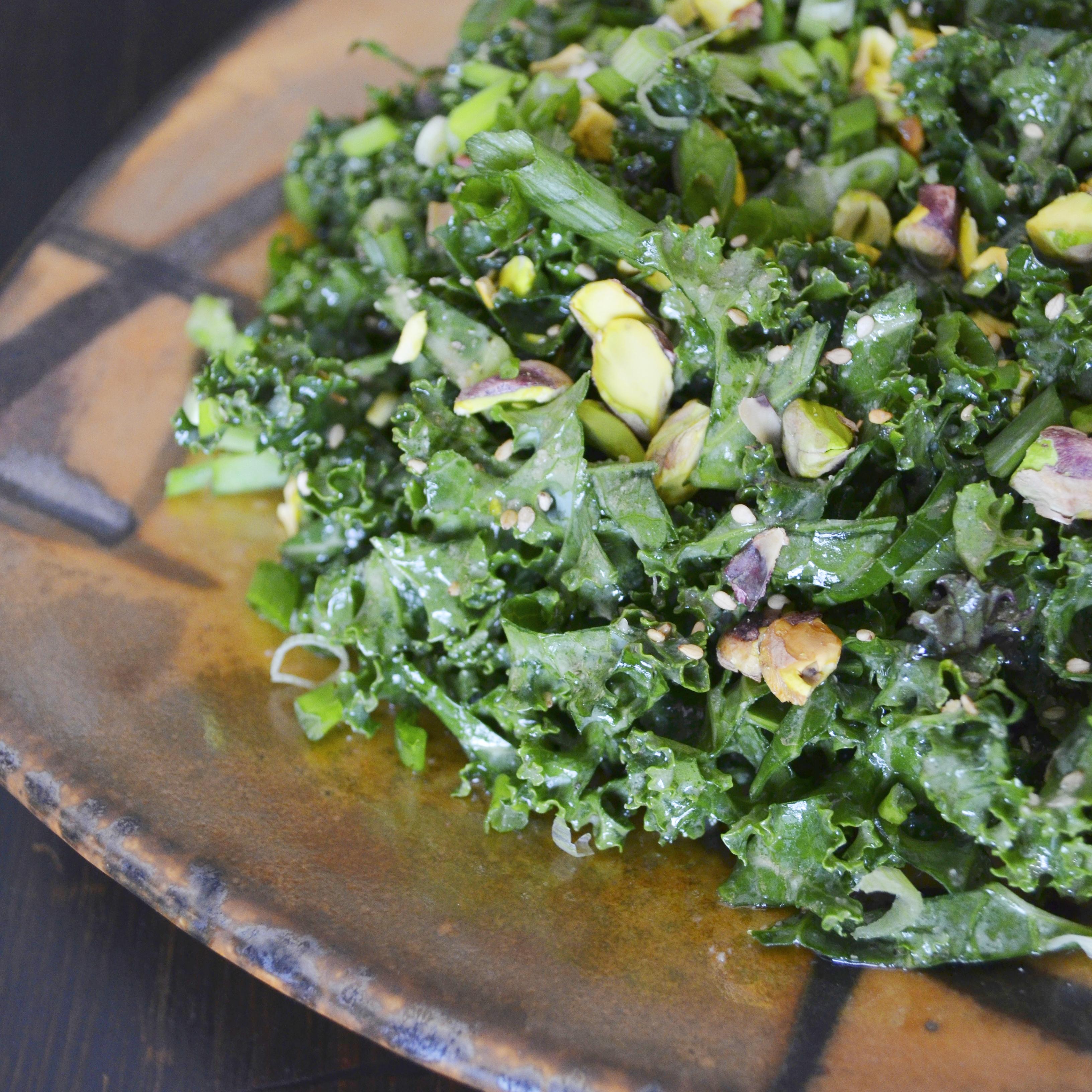 Kale Salad with Miso & Pistachios