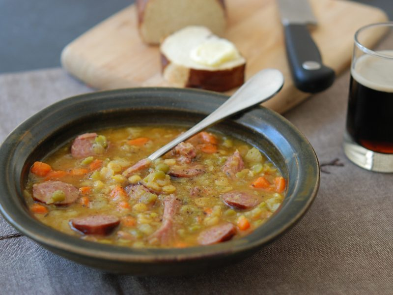 Andrew Zimmern's recipe for kielbasa and pea soup