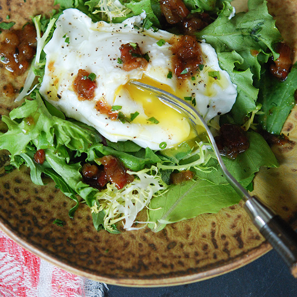 One-Eyed Salad with Brown Sugar-Bacon Vinaigrette