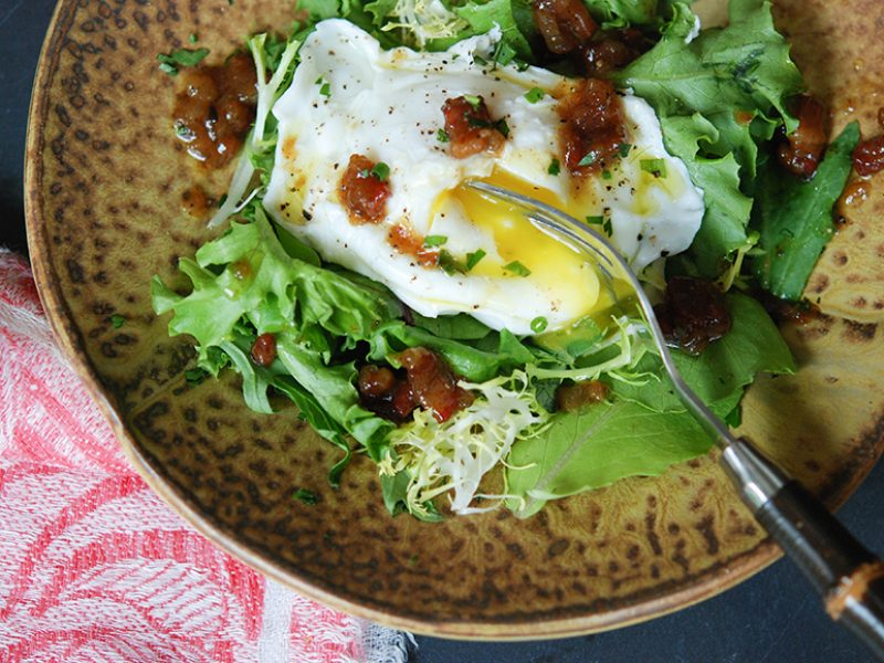 One Eyed Salad with Poached Eggs