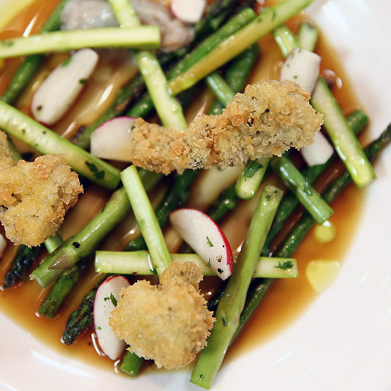 Deep-Fried Oysters with Asparagus & Vinaigrette