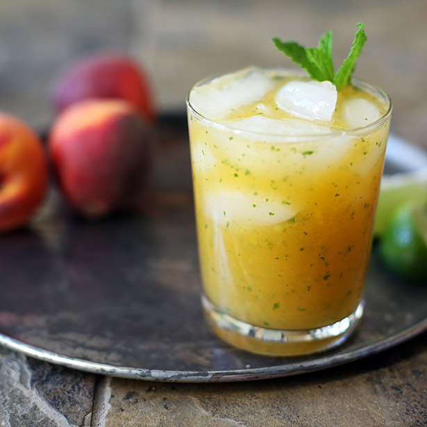 Andrew Zimmern's Peach, Gin & Mint Cocktail with Ginger Beer Recipe
