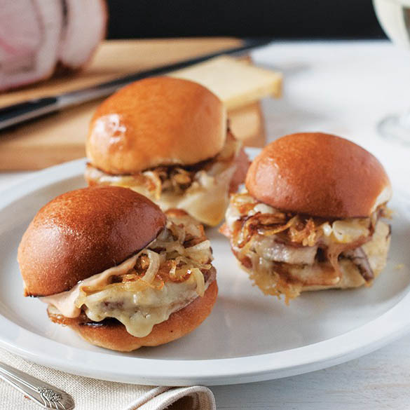 Porchetta Sliders with Caramelized Onions & Gruyere