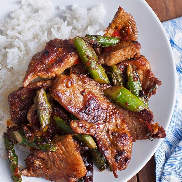 Pork & Asparagus with Chile-Garlic Sauce