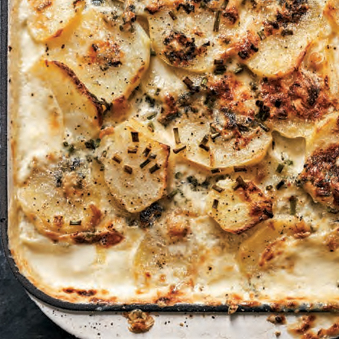 Scalloped Potatoes with Blue Cheese & Roasted Garlic