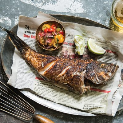Pan-Fried Sea Bass from Senegal by Pierre Thiam.|Senegal|Pan-Fried Sea Bass from Senegal by Pierre Thiam.