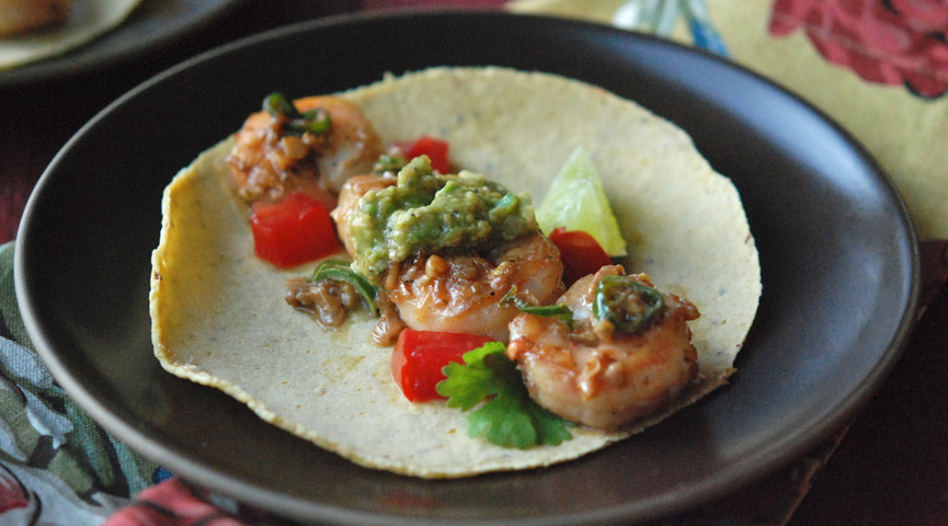 Shrimp with Green Chiles & Avocado-Tomatillo Sauce