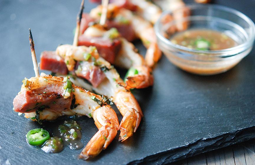 Shrimp & Ham Skewers