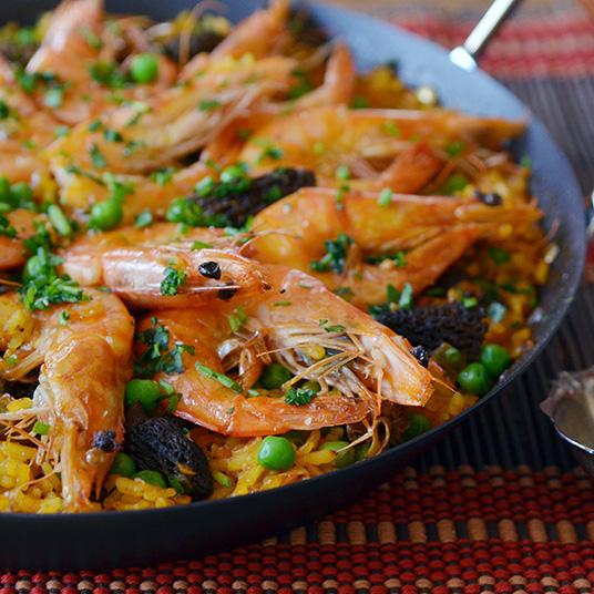 Spring Paella with Shrimp, Morels & Peas