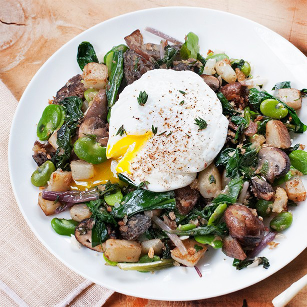 Vegetable Hash with Ramps, Morels & Fava Beans