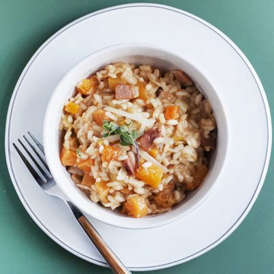 Squash Risotto with Bacon and Leeks